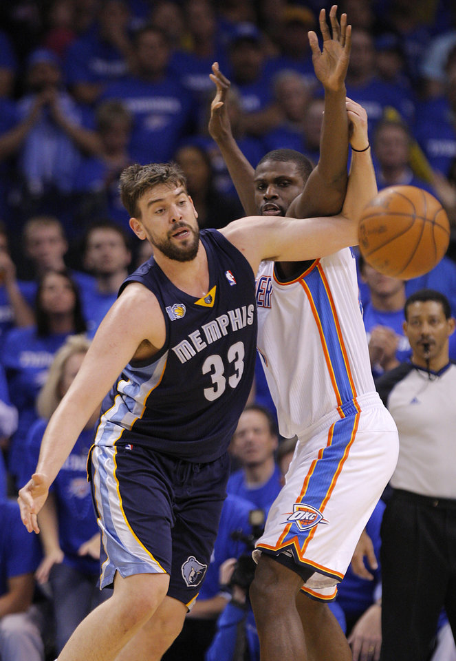 Oklahoma City's Nazr Mohammed (8) defends on Marc Gasol (33) of Memphis during game two of the Western Conference semifinals between the Memphis Grizzlies and the Oklahoma City Thunder in the NBA basketball playoffs at Oklahoma City Arena in Oklahoma City, Tuesday, May 3, 2011. Photo by Bryan Terry, The Oklahoman