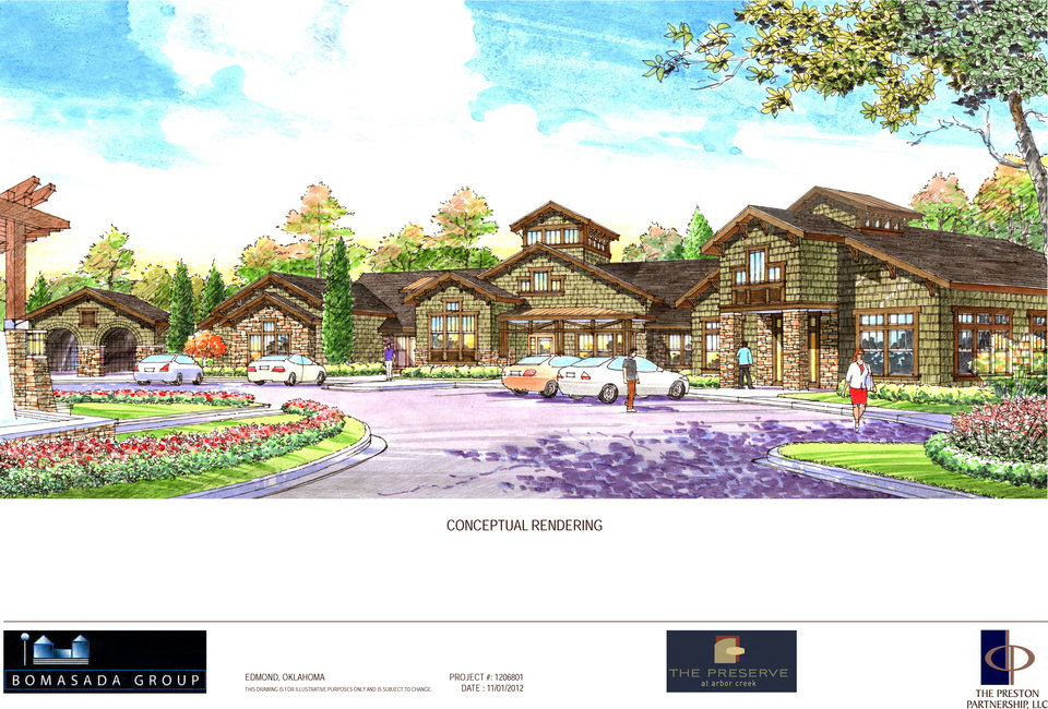 An artist's rendering shows the clubhouse at the proposed Arbor Creek at Summit Apartments. The developer is proposing to build 285 apartments near the Arbor Creek housing addition. DRAWING PROVIDED