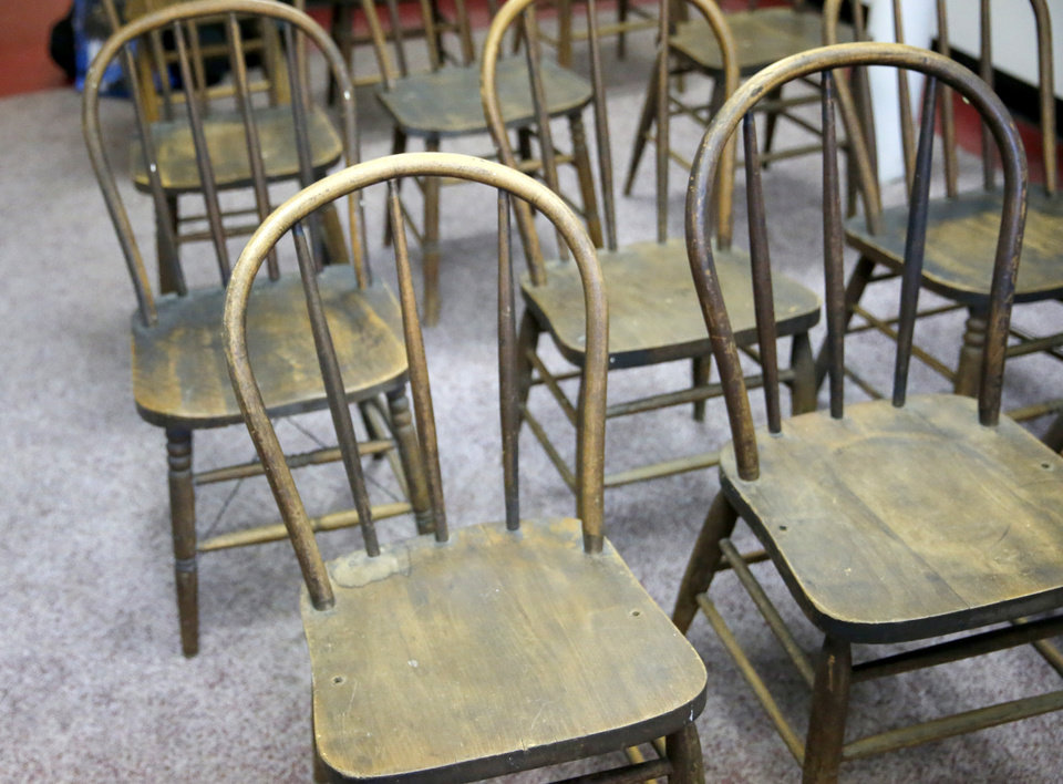 Photo - Original chairs are pictured at the Vernon A.M.E Church in the Greenwood district in Tulsa, Okla., Wednesday, July 22, 2020. Photo by Sarah Phipps, The Oklahoman