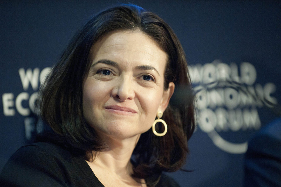 Photo - FILE- In this Friday, Jan. 28, 2011, file photo, Sheryl Sandberg, Chief Operating Officer of the social network service Facebook, speaks during a panel session at the 41st annual meeting of the World Economic Forum, WEF, in Davos, Switzerland. It's been a year since Sheryl Sandberg came out with