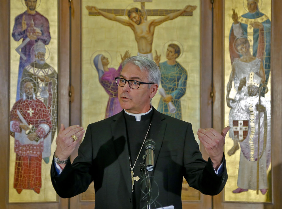 Archbishop Paul S. Coakley discusses the election of a new pope during a news conference Wednesday at the Catholic Pastoral Center in Oklahoma City. Photo by Chris Landsberger, The Oklahoman  <strong></strong>