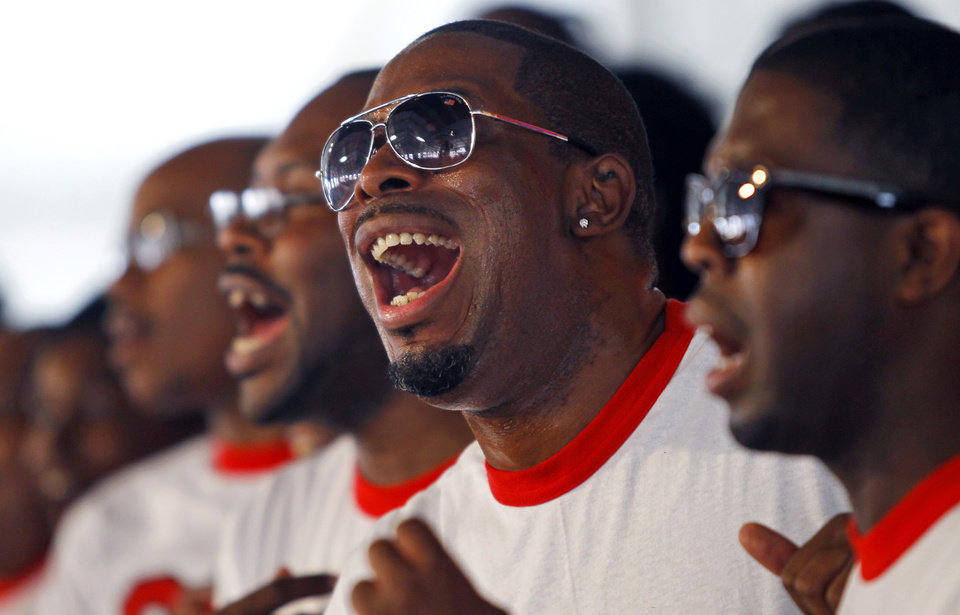 Photo -   Ronnie Griffin sings as the New Orleans Gospel Soul Children perform in the Gospel tent during the New Orleans Jazz and Heritage Festival in New Orleans Saturday, May 5, 2012. (AP Photo/The Times-Picayune, Brett Duke) MAGS OUT; NO SALES; USA TODAY OUT
