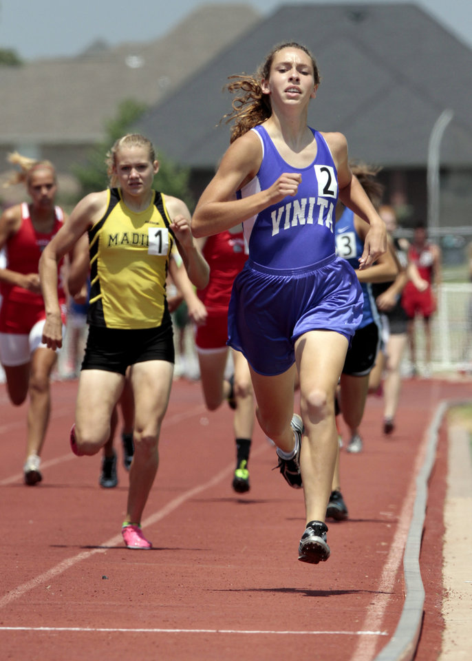 Photo - Hannah McMeen, Vinita, wins the girls 4A  800 Meter race at the state championship track meet on Saturday, May 5, 2012, in Ardmore, Okla.  Photo by Steve Sisney, The Oklahoman