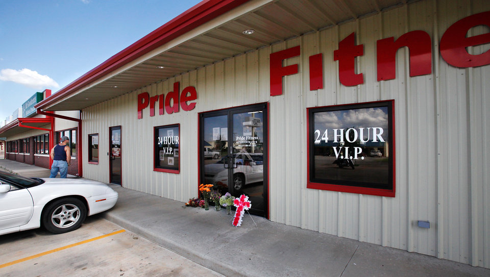 Photo - Pride Fitness in Elgin was owned  and managed by Raymond Dye and his wife, Barbara Diane. Residents of Elgin Okla, react Tuesday, July 20, 2010, to yesterday's  shooting death of local teacher  Barbara Diane Dye at the hand of her husband,  Raymond Lee Dye, 42, in the parking lot of a bank in this southwest Oklahoma community of about 1400 people just north of Lawton.     