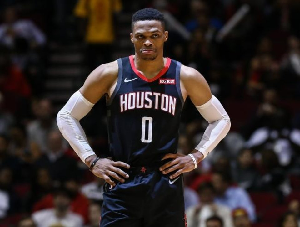 Photo -  Russell Westbrook and the Houston Rockets visit Oklahoma City on Thursday night. It will be Westbrook's first game in OKC since he was traded to Houston. [Troy Taormina/USA TODAY Sports]