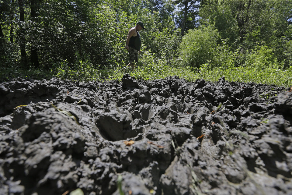Photo - John Schmidt, a wildlife trapper, walks past damage from feral hogs that happened overnight while foraging near one of his traps in New Orleans, Tuesday, June 17, 2014. An estimated 5 million swine, descendants of both escaped domestic pigs and wild Eurasian boars imported by hunters, do about $800 million in damage a year to farms nationwide. Damage outside farms and population control bring the annual total to $1.5 billion. A preservative used to cure bacon is being tested as poison for feral hogs. Scientists with U.S. Department of Agriculture say sodium nitrite may be the best chance for controlling the big, prolific animals, which cost the U.S. about $1.5 billion a year_ including $800 million in farm damage.  (AP Photo/Gerald Herbert)