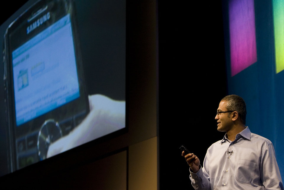 Photo - This May 21, 2008 photo, Microsoft Senior Vice President of Portal and Advertising Platform Group Satya Nadella demonstrates some of the features of Live Search on a mobile device during the advance08 Advertising Leadership Forum at the company's campus in Redmond, Wash.  Microsoft announced Tuesday, Feb. 4, 2014,  that Nadella will replace Steve Ballmer as its new CEO.  Nadella will become only the third leader in the software giant's 38-year history, after founder Bill Gates and Ballmer. Board member John Thompson will serve as Microsoft's new chairman. (AP Photo/Stephen Brashear)