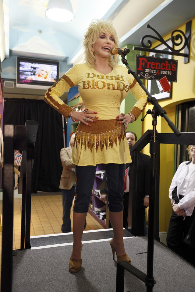 Photo - Dolly Parton speaks at the grand opening of Dolly Parton's Trinkets & Treasures store in Nashville, Tenn., March 12, 2010. AP PHOTO        ORG XMIT: 1107232348482702