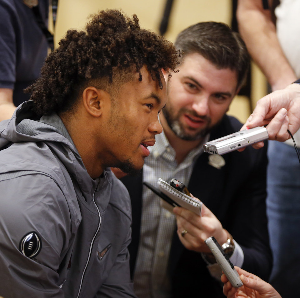 Photo - Oklahoma's Kyler Murray (1) talks to reporters during media day for the Oklahoma Sooners at the L.A. Hotel Downtown in Los Angeles, Saturday, Dec. 30, 2017. OU will play Georgia in the Rose Bowl Game, a College Football Playoff Semifinal, on Jan. 1, 2018. Photo by Nate Billings, The Oklahoman
