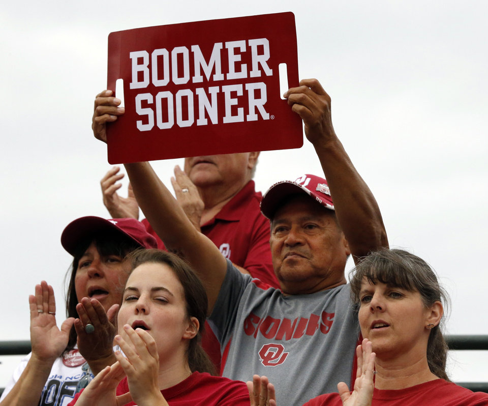 Photo - Fans cheer on the Sooners as the University of Oklahoma Sooner (OU) softball team plays Tennessee in the first game of the NCAA super regional at Marita Hynes Field on May 23, 2014 in Norman, Okla. Photo by Steve Sisney, The Oklahoman