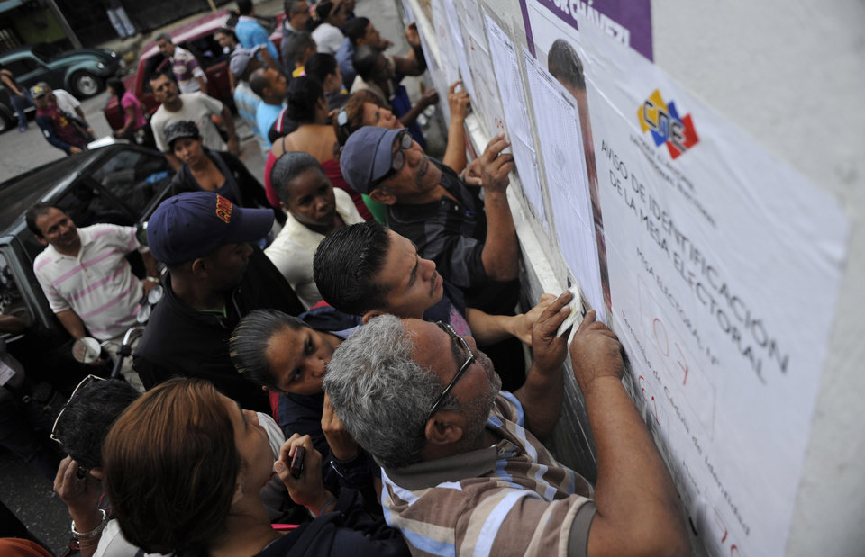 Residents look for their names in the voters list to vote for presidential elections at a polling station in the Petare neighborhood in Caracas, Venezuela, Sunday, Oct. 7, 2012. President Hugo Chavez is running against opposition candidate Henrique Capriles.(AP Photo/Sharon Steinmann)