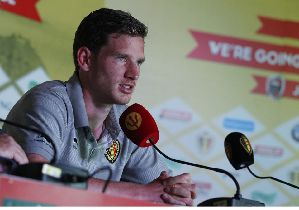 Photo - Belgium midfielder Jan Vertonghen listens to journalists' questions during a press conference at the team's training facility, in Mogi Das Cruzes, Brazil, Thursday, June 12, 2014. Belgium plays in the group H of the 2014 soccer World Cup. (AP Photo/Andrew Medichini)