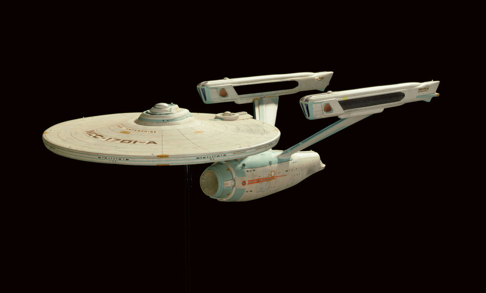 Photo - In this photo released by Christies Images Ltd.2006, on Thursday, May 18, 2006 in New York, a model of the Starship Enterprise-A, is shown. The model, made from a modified plastic hobby kit, was used in visual effects production for 1991 feature film: Star Trek VI: The Undiscovered Country and in earlier Star Trek movies.  The model will join other memorabilia from the Star Trek television series and feature films that will go up on the block at Christies on October 6 and 7. Prior to the auction the collection will tour the U.S. and Europe.  (AP Photo/Christies Images Ltd.2006)   - ASSOCIATED PRESS