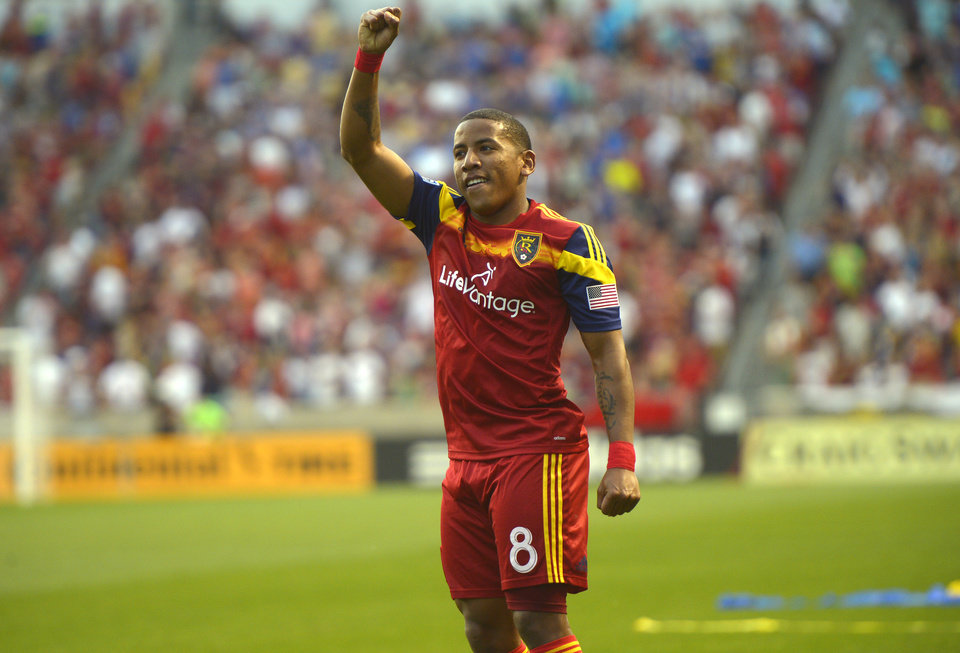 Photo - Real Salt Lake forward Jou Plata (8) celebrates his goal against the Colorado Rapids during an MLS soccer game Saturday, May 17, 2014, in Sandy, Utah. (AP Photo/The Salt Lake Tribune, Rick Egan)  LOCAL TV OUT  MAGS OUT  DESERET NEWS OUT
