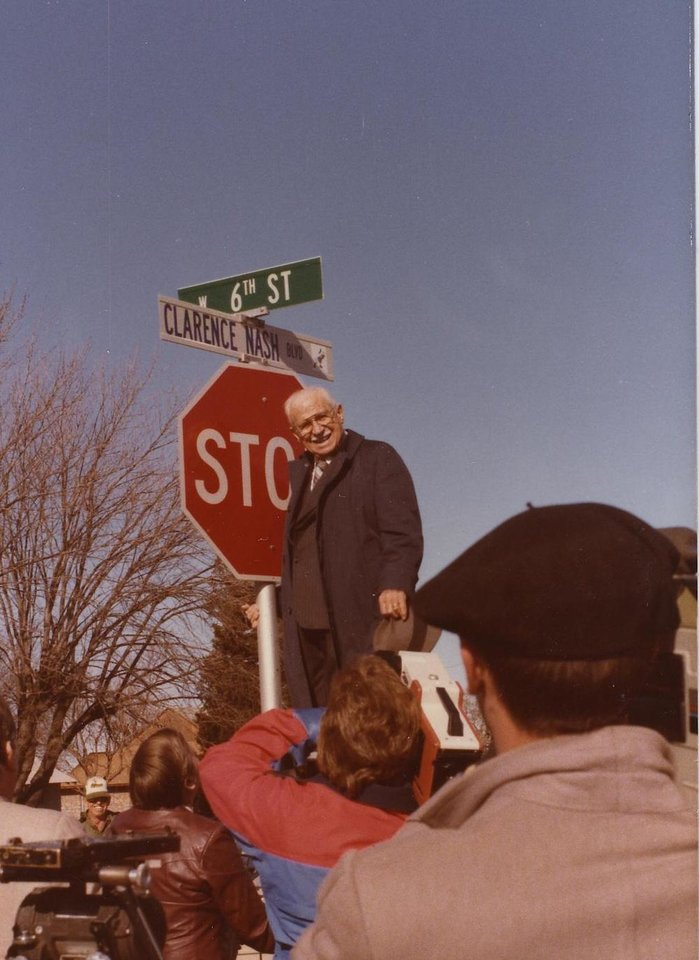 Photo -  A surprised and proud Clarence Nash at the dedication ceremony of Clarence Nash Boulevard in Watonga. Photo provided