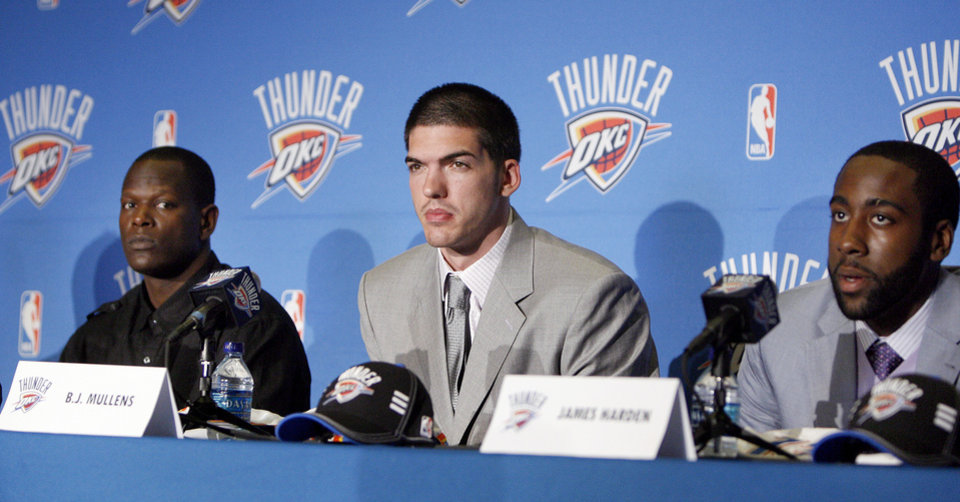 Thunder draft picks from left to right Robert Vaden, Byron Mullens and James Harden. Photo by Sarah Phipps, The Oklahoman