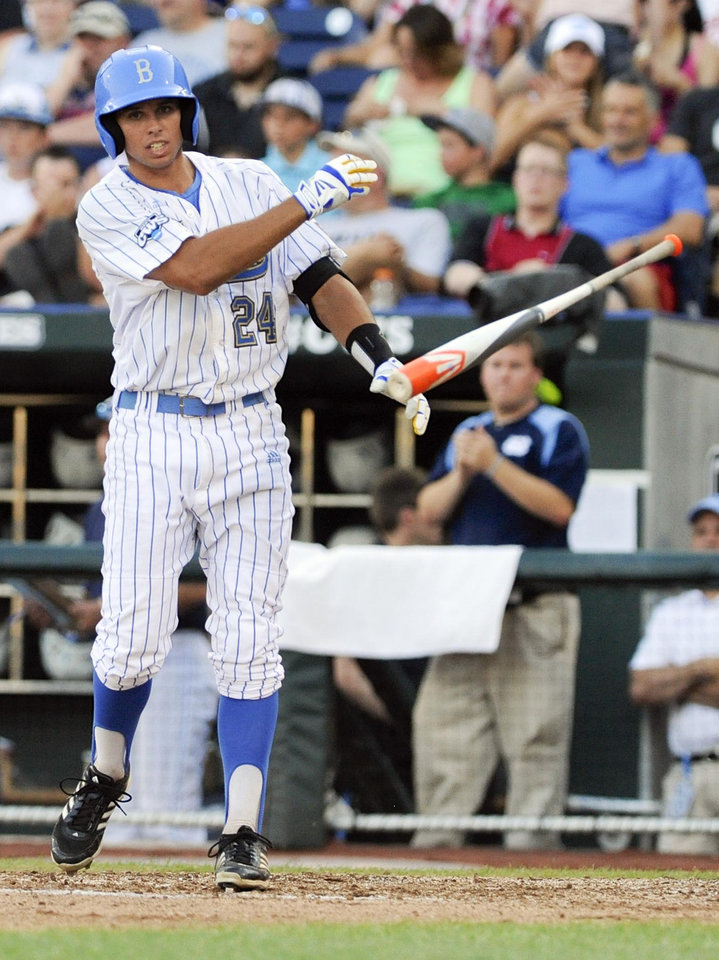UCLA's Brian Carroll tosses his bat after being struck out by North Carolina pitcher Kent Emanuel to end the second inning of an NCAA College World Series baseball game in Omaha, Neb., Friday, June 21, 2013. (AP Photo/Eric Francis)