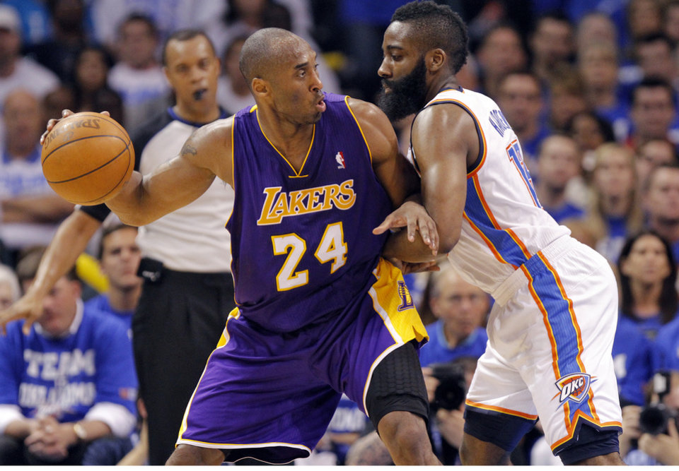 Los Angeles' Kobe Bryant drives against Oklahoma City's James Harden during Game 2 in the second round of the NBA playoffs between the Oklahoma City Thunder and the L.A. Lakers at Chesapeake Energy Arena on Wednesday,  May 16, 2012, in Oklahoma City, Oklahoma. Photo by Chris Landsberger, The Oklahoman