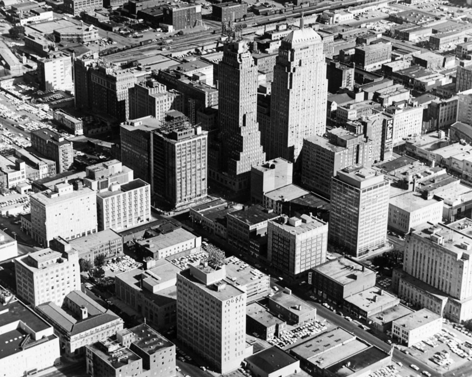 OKLAHOMA CITY / SKYLINE / AERIAL VIEW: Oklahoma City aerial from Sept 13, 1962.  Staff photo by Jim Lucas.  Photo dated 09/13/1962.