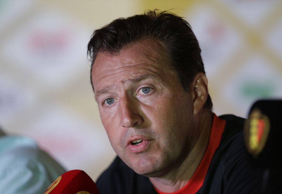 Photo - Belgium's head coach Marc Wilmots answers journalists' questions during a press conference, in Mogi Das Cruzes, Brazil, Friday, June 13, 2014. Belgium play in group H of the 2014 soccer World Cup. (AP Photo/Andrew Medichini)