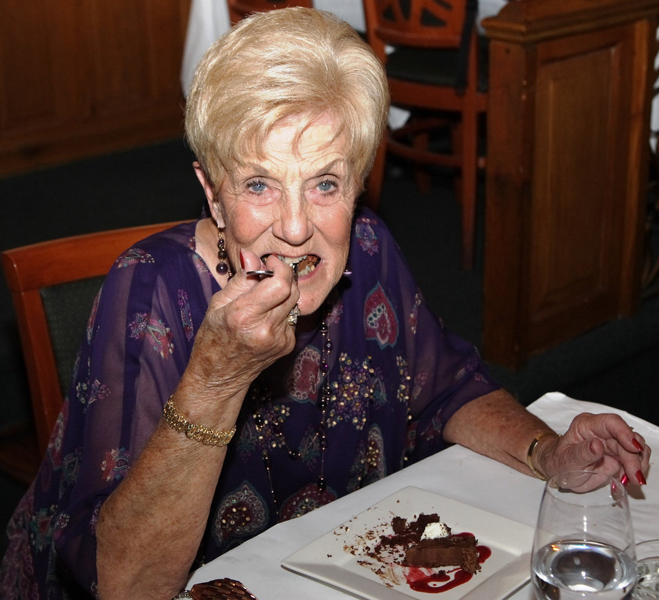 Levita Anderson digs into dessert prepared by her son Rick Bayless and his staff from Frontera Grill in Chicago, who flew in to prepare a dinner for 180 in honor of Levita's 80th birthday. The party, which lasted six hours, was at the Metro Wine Bar and Bistro.