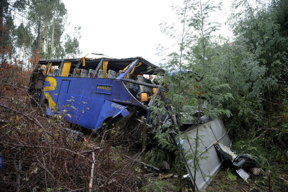 Photo - The wreckage of a bus which ran off the road and crashed into a ravine, killing 10 people and injuring 33 is seen in Serta, central Portugal, Sunday, Jan. 27, 2013. National Civil Protection authority spokesman Carlos Guerra says the injured have been taken to hospitals in the cities of Coimbra and Castelo Branco. (AP Photo/Sergio Azenha) PORTUGAL OUT