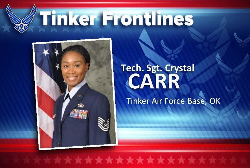 "Photo - Tech. Sgt. Crystal Carr is the lead for military pay in the 72nd Comptroller Squadron. Originally from Florence, South Carolina, Carr has served in the U.S. Air Force for 12 years. Tinker is her fifth assignment, which includes one deployed to Al Udeid, Quatar, in 2014. In her current position, Carr oversees military active duty debts, separations and retirements, the leave web program, deployed entitlements, accessions (members without an active pay record), audits, a host of monthly military reports and more. When she's not working, Carr loves spending time with her family. Her son is her pride and joy. She loves to read, eat, being outdoors, snowboarding, fishing and attending school. Because she loves to travel the world, she is really not enjoying having to shelter-in-place. However, she does love her job at Tinker. ""Every assignment has been different thus far,"" she said. ""I have learned a lot about myself, peers and Airmen since I have been here. Every day, I feel satisfied knowing that I rendered a customer with the best service possible. Seeing customers leave our office with a sense of knowing that their records will be updated in a timely manner makes my heart happy."" The sergeant said her job as a non-commissioned officer-in-charge is to take care of her Airmen each and every day. ""It makes me happy when they feel comfortable to come to me with questions and I have an answer to help them navigate a current issue,"" she said. ""Without my team I wouldn't be who I am today. They constantly challenge me to be a better individual. To answer the question, my favorite part about my job is interacting with customers and my Airmen."" [PHOTO PROVIDED]"