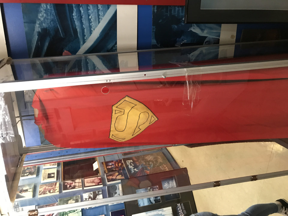 Photo -  A cape worn by Christopher Reeve is on display at the Super Museum. [photo by Matthew Price, The Oklahoman]