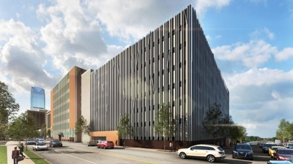 Photo -  The Oklahoma Department of Transportation is planning to replace an aging garage west of its headquarters at NW 6 and Robinson Avenue with a new eight-story garage as shown in this rendering. [RENDERING BY GSB]