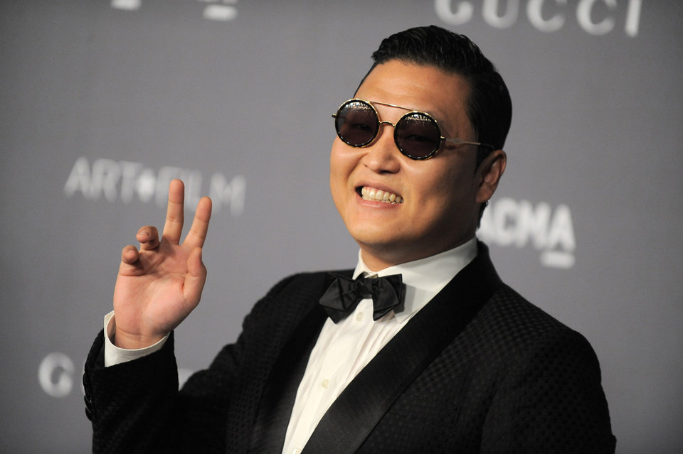 South Korean rapper Psy arrives at the 2012 ART + FILM GALA hosted by LACMA on Saturday, Oct. 27, 2012, in Los Angeles. (Photo by Jordan Strauss/Invision/AP)