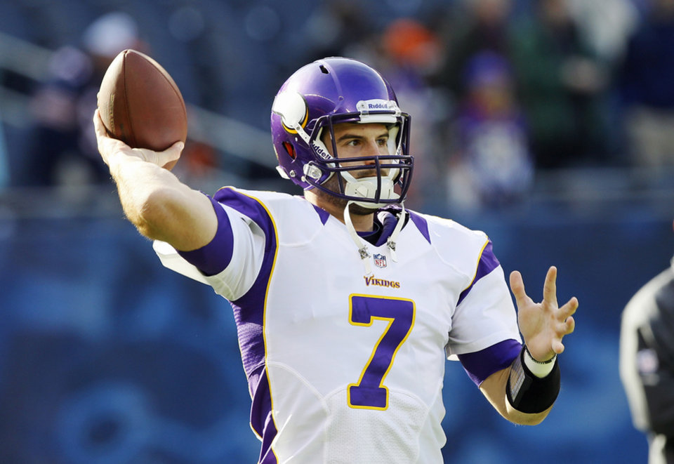 Minnesota Vikings quarterback Christian Ponder (7) warms up before an NFL football game against the Chicago Bears in Chicago, Sunday, Nov. 25, 2012. (AP Photo/Charles Rex Arbogast)