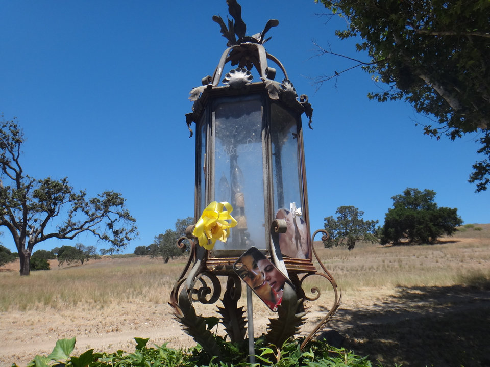 Photo - This Wednesday, May 28, 2014 photo shows a light fixture with tributes to singer Michael Jackson on the property outside the gate to the Neverland Ranch in Los Olivos, Calif. Jackson's playtime palace sits empty now. The backyard circus and laughter of children are long gone, but the house and its fanciful memories live on. (AP Photo/Derrik J. Lang)