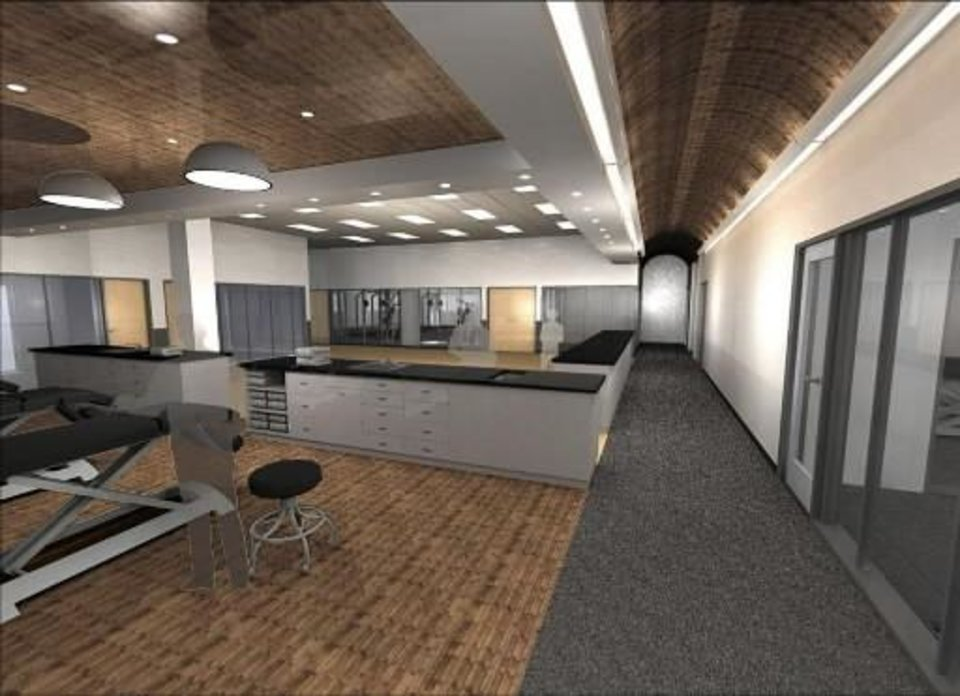 An artist's rendering of the training and medical room inside the Oklahoma City  Thunder's  practice  facility that will be built northeast of the intersection of Broadway and Britton. PHOTO PROVIDED