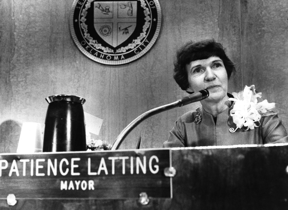 """Our new mayor on the job, presiding over City Council.""     ""Mrs. Patience Latting, sworn in Tuesday as Oklahoma City's first woman mayor, predicted the city will grow from a 'gangling adolescent' into maturity in the coming years.     'It will be a wonderful experience for all of us together,' she told city officials and citizens who jammed the City Council chambers to view the seating of the new mayor and four councilmen.    She said elected and appointed city officials, city employees and 'you, the people, must all work together in setting our goals and in achieving them.'    Mrs. Latting said the 82 years that Oklahoma City has been in existence is actually a very short life span for a city.   (From an article in the 4/14/71 Daily Oklahoman.) Staff photo by Robert Taylor taken 4/13/71; photo ran in the 4/14/71 Daily Oklahoman."