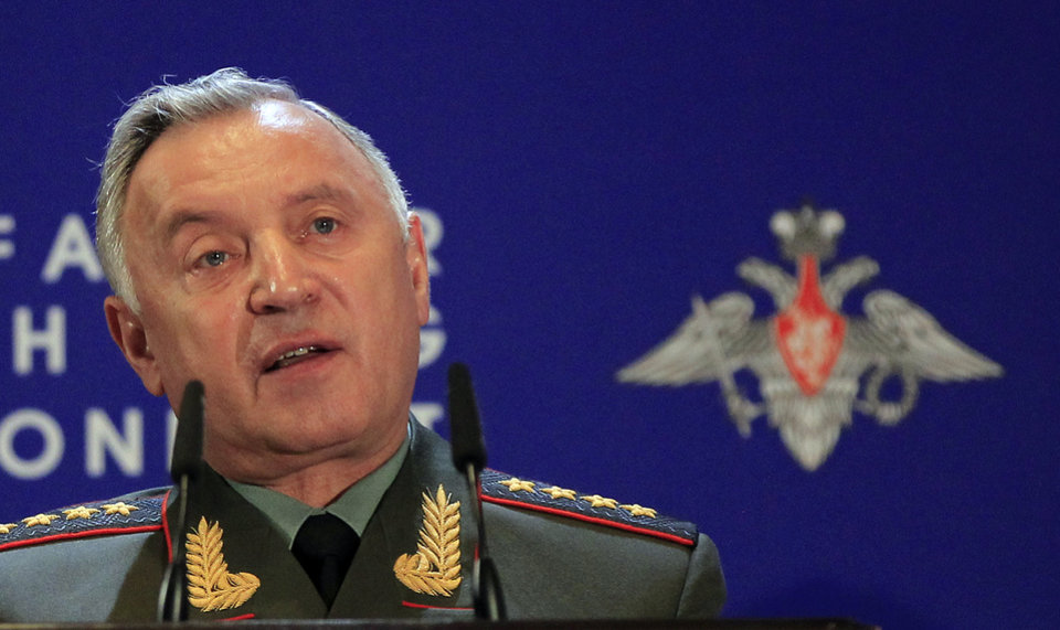 Photo -   Chief of General Staff Nikolay Makarov speaks at Russian Ministry of Defense's Conference on Missile Defense in Moscow on Thursday, May 3, 2012. President Medvedev last year threatened that Russia will retaliate if it does not reach agreement with the United States and NATO. Makarov on Thursday confirmed that stance, saying that that Russia will take