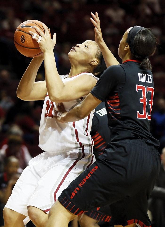 Photo - Oklahoma's Portia Durrett (31) takes a shot in front of Texas Tech's Shauntal Nobles (33) during a women's college basketball game between the Oklahoma Sooners and Texas Tech at Lloyd Noble Center in Norman, Okla., Monday, March 3, 2014. Photo by Nate Billings, The Oklahoman