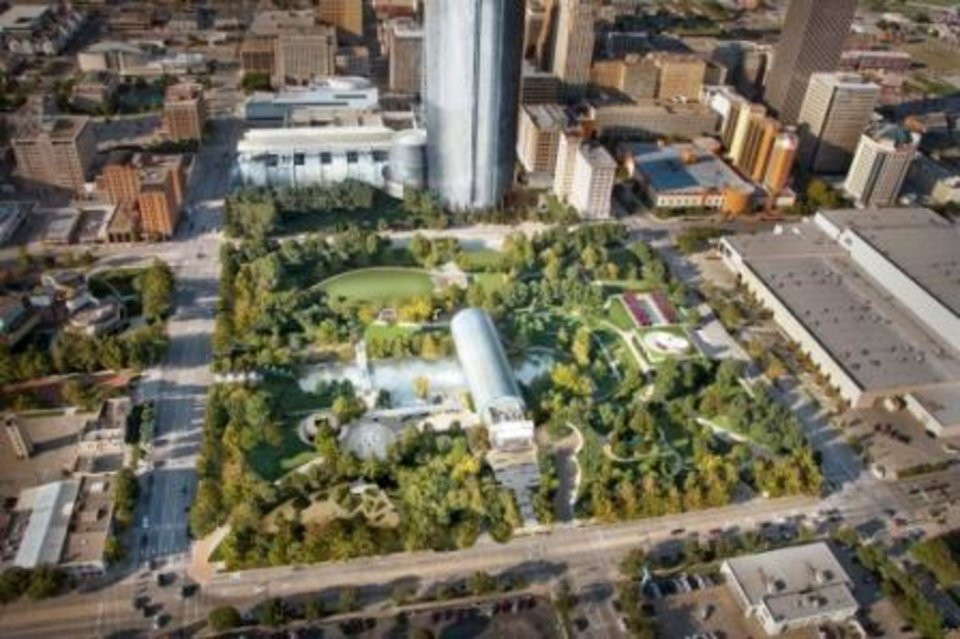 This rendering shows a completed Myriad Gardens and Devon headquarters.