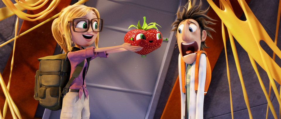 "Sam Sparks (voiced by Anna Faris) hands Barry to Flint (Bill Hader) in ""Cloudy with a Chance of Meatballs 2."" <strong></strong>"