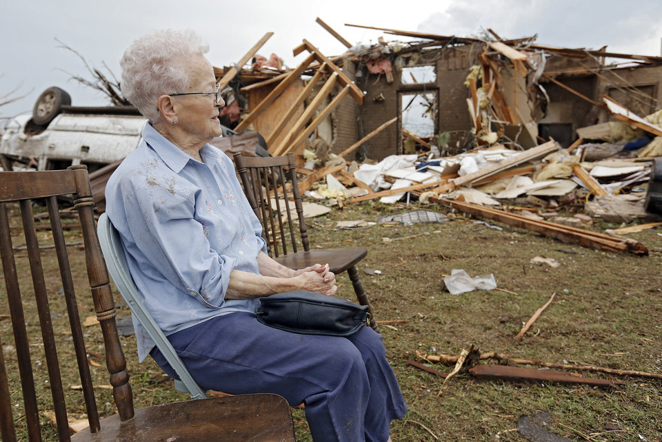 Nancy Davis, 94, over looks her home that has been destroyed by a tornado for the second time near 149th and Drexel on Monday, May 20, 2013 in Oklahoma City, Okla.  Photo by Chris Landsberger, The Oklahoman