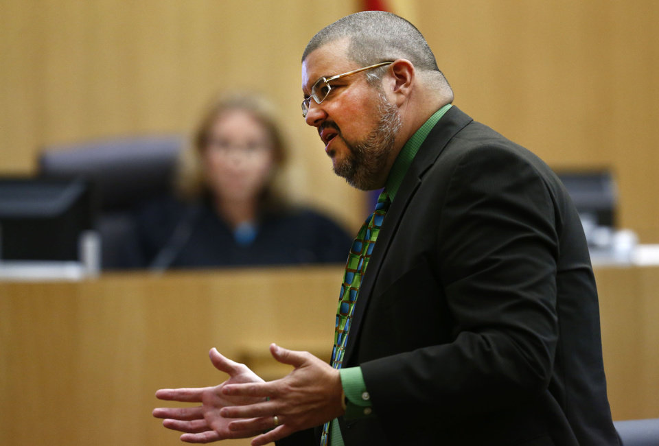Photo - Defense attorney Kirk Nurmi addresses the jury on Wednesday, May 15, 2013 during the sentencing phase of the Jodi Arias murder trial at Maricopa County Superior Court in Phoenix. If the jury finds aggravating factors in her crime, Arias could be sentenced to death.   (AP Photo/The Arizona Republic, Rob Schumacher, Pool)