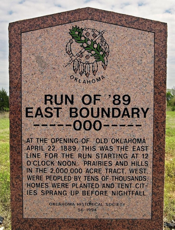 Curtis and Mary Lou Roberts live on the land Curtis' grandfather staked in the land run. This will be the Sunday Community centerpiece about the family and the story of the land. Historical marker for the land run of 1889 near the Roberts property along Route 66. Staff photo by Paul B. Southerland.