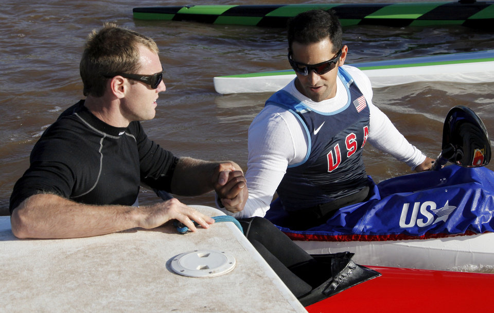 Tim Hornsby, left, talks with Rami Zur after the men's kayak 200m final during the USA Canoe/Kayak U.S. Olympic Team Trials on the Oklahoma River in Oklahoma City, Friday, April 20, 2012. Hornsby finished first, and Zur finished third. Photo by Nate Billings, The Oklahoman