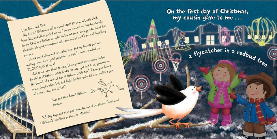 "A page spread from ""The Twelve Days of Christmas in Oklahoma,"" written by Tammi Sauer and illustrated by Victoria Hutto, features the Chickasha Festival of Light. Photos provided"