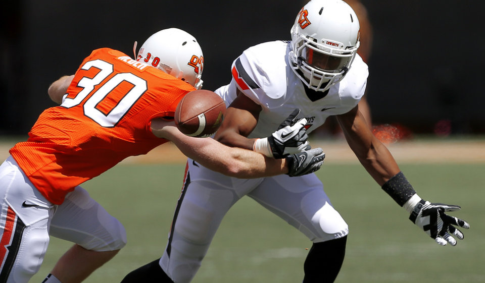 Oklahoma State\'s Brandon Sheperd can\'t make the catch as Bryant Reber defends during OSU\'s spring football game at Boone Pickens Stadium in Stillwater, Okla., Sat., April 20, 2013. Photo by Bryan Terry, The Oklahoman