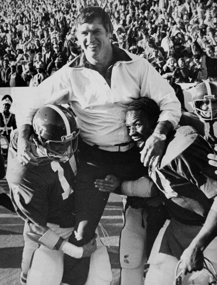 Photo - Winning a share of the Big 8 title Nov. 21, 1976: Oklahoma State University (OSU) football coach Jim Stanley
