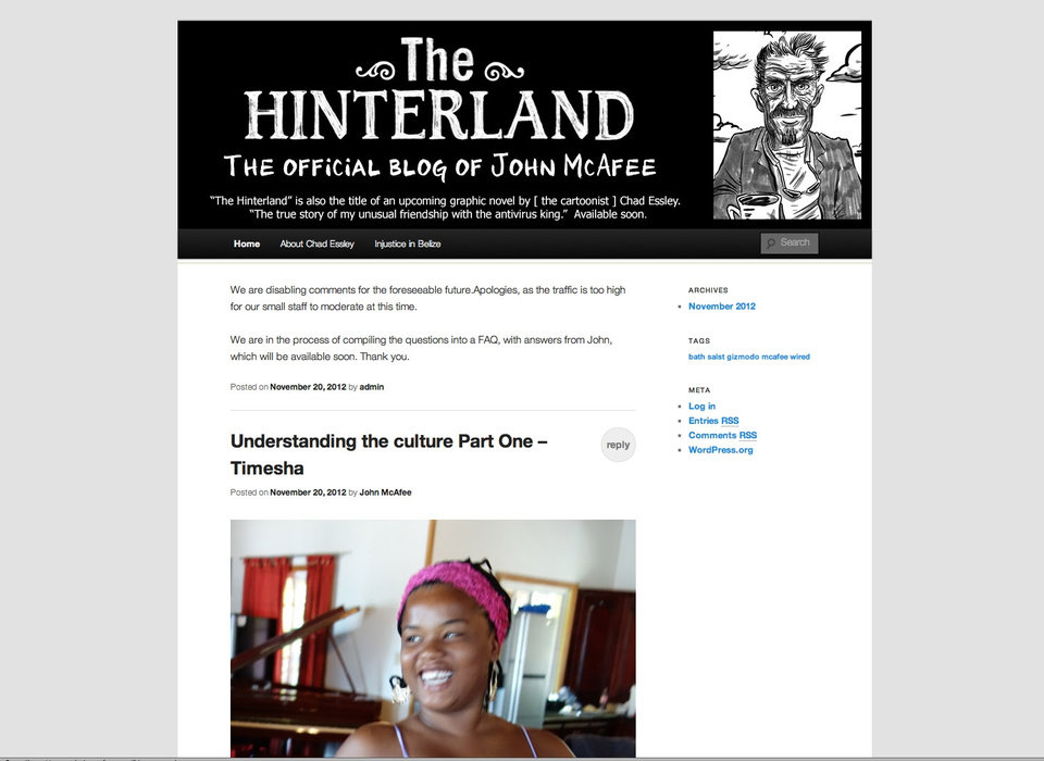 Photo -   This Nov. 20, 2012 image, shows a screenshot of the blog of Software company founder John McAfee. In the latest twist in the highly-publicized case, McAfee has started his own blog, in which he describes life on the lam after police in Belize called him a