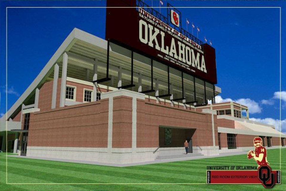 Photo - Artist rendering of the outside of the Red Room that is part of Phase IV of the renovation of Gaylord Family - Oklahoma Memorial Stadium. PHOTO PROVIDED