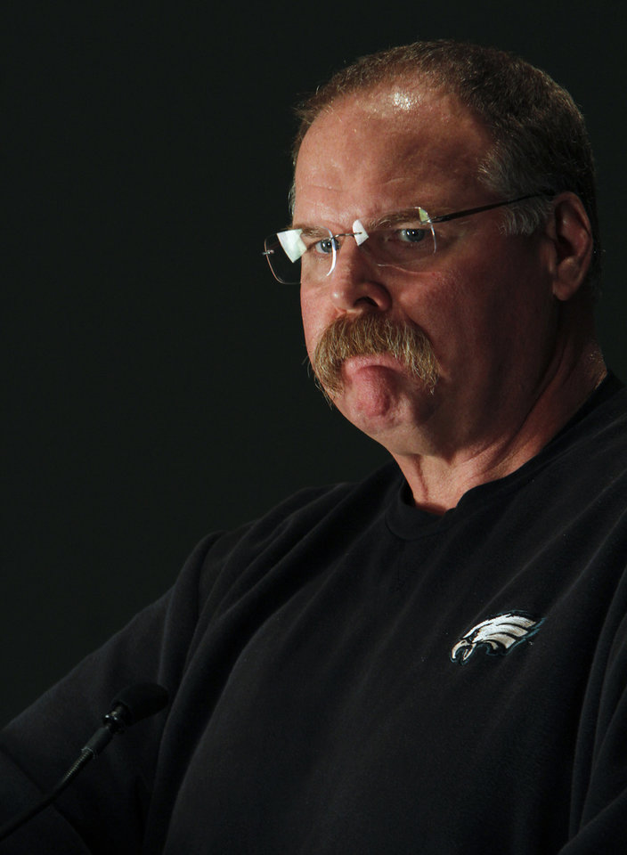 Photo -   Philadelphia Eagles head coach Andy Reid pauses while speaking during a media availability at their NFL football training facility Monday, Nov. 12, 2012 in Philadelphia. (AP Photo/ Joseph Kaczmarek)