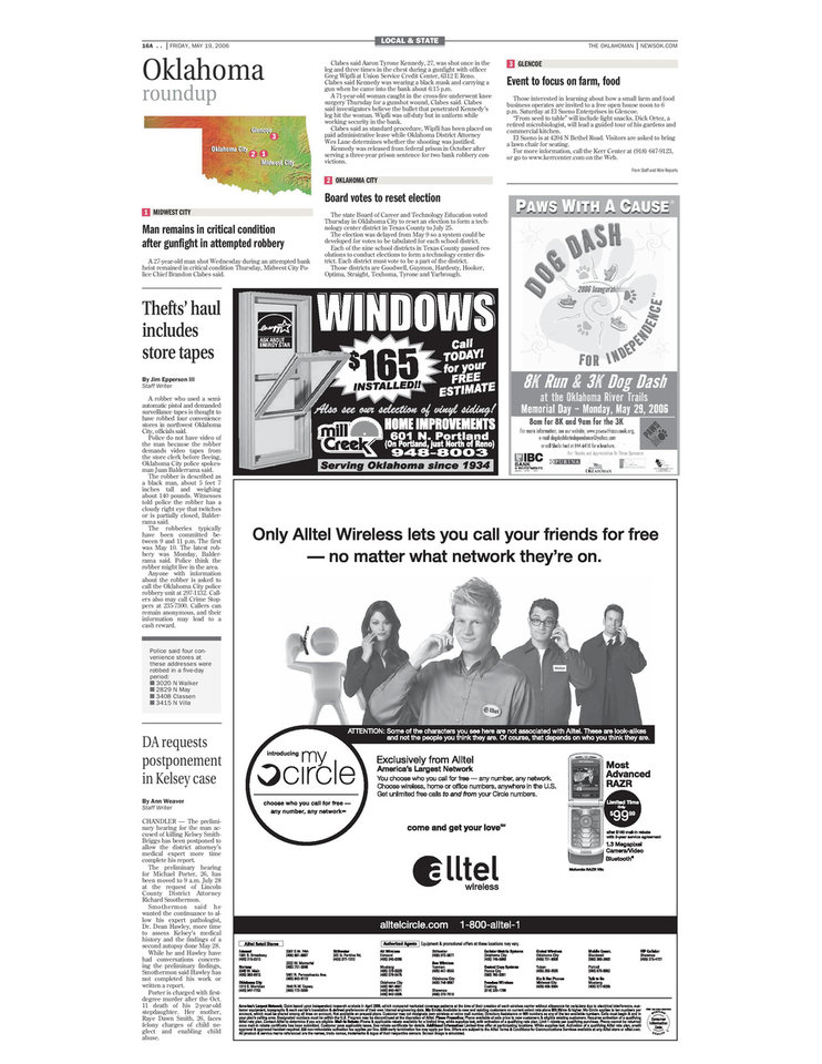 Photo -  The May 19, 2006, edition of The Oklahoman included a short news item about the shoot-out with an armed robber involving Midwest City police Capt. Greg Wipfli on Page 16A.
