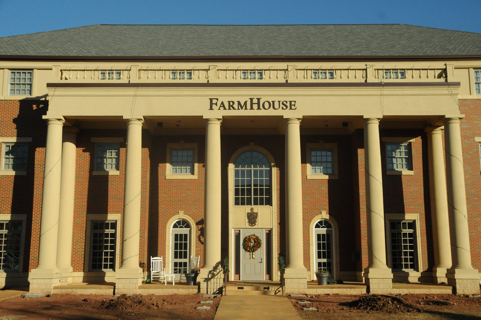 Oklahoma State University's FarmHouse fraternity in a photo taken Tuesday. The school has suspended a former fraternity member after reports that male students were sexually assaulted. Photo provided
